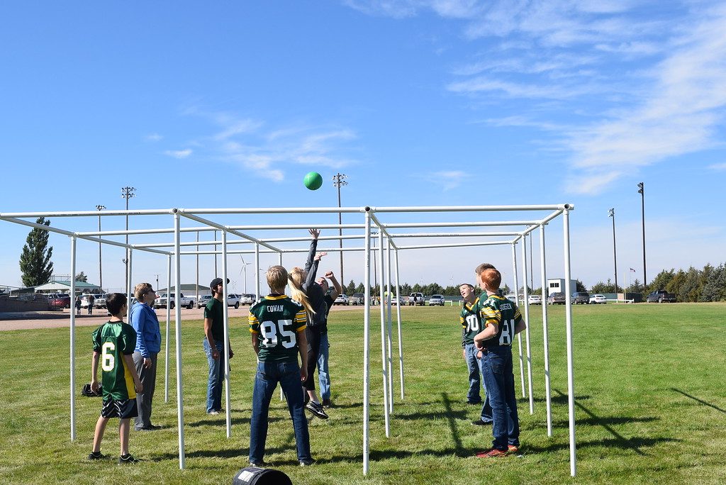 """. Students keep an eye on the ball during a nine square volleyball game at Peetz Sake Days \""""Still on the Hill\"""" Centennial Celebration Saturday, Sept. 30, 2017."""