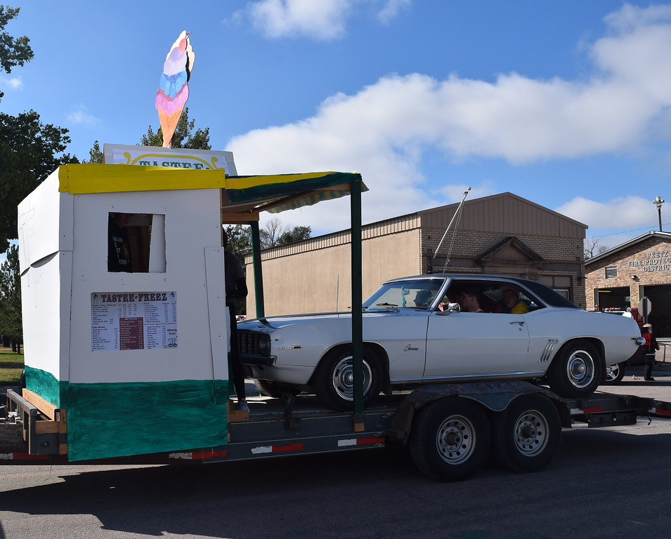 """The Class of 2019 had a Tastee Freeze ice cream shop themed float for the Peetz Sake Days """"Still on the Hill"""" Centennial Parade Saturday, Sept. 30, 2017."""