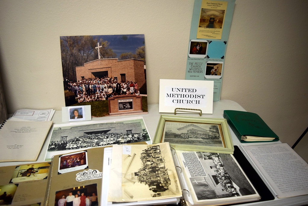 """. Photographs and information about United Methodist Church were on display at Peetz Sake Days \""""Still on the Hill\"""" Centennial Celebration Saturday, Sept. 30, 2017. The church was formed in 1910."""