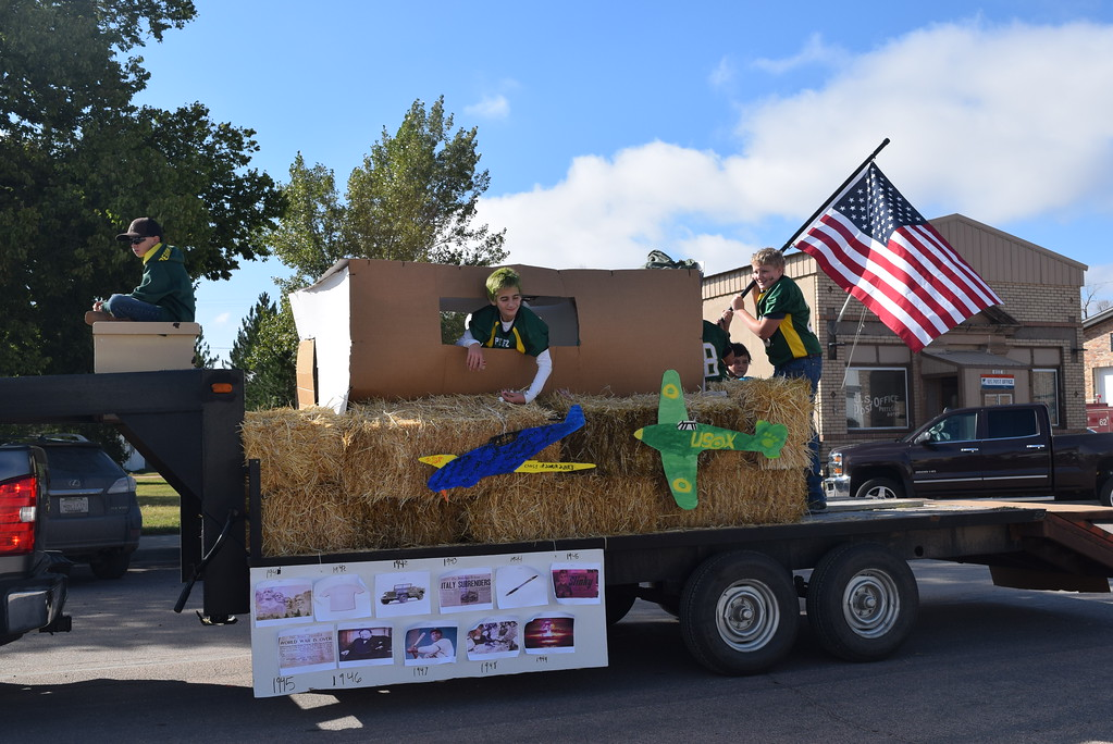 """. A float representing the 1940\'s decade makes its way down the parade route during the Peetz Sake Days \""""Still on the Hill\"""" Centennial Parade Saturday, Sept. 30, 2017."""