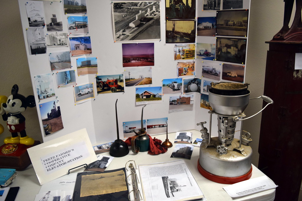 """. Tools used at Peetz Farmer\'s Cooperative Company Elevator-Station were on display, along with photographs and information, at Peetz Sake Days \""""Still on the Hill\"""" Centennial Celebration Saturday, Sept. 30, 2017."""