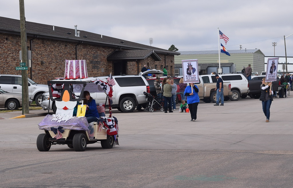 """. American Legion Post 134 and the American Legion Auxiliary\'s float had a patriotic theme for the Peetz Sake Days \""""Still on the Hill\"""" Centennial Parade Saturday, Sept. 30, 2017"""