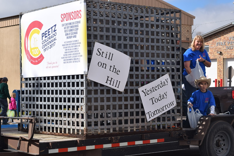 "The Town of Peetz float used the town's old jail cell to make sure paradegoers knew Peetz was and is ""Still on the Hill"" yesterday, today and tomorrow,  during the Peetz Sake Days ""Still on the Hill"" Centennial Parade Saturday, Sept. 30, 2017."