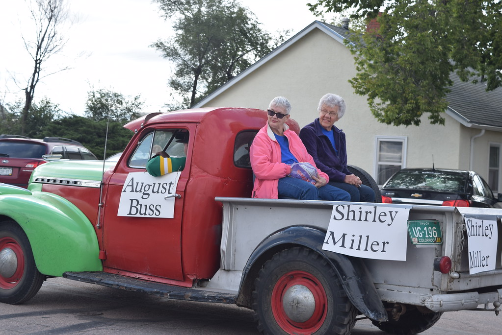""". August Buss, Shirley Miller and Ann Curtis, Peetz residents since 1932, 1952 and 1938, make their way down the parade route  during the Peetz Sake Days \""""Still on the Hill\"""" Centennial Parade Saturday, Sept. 30, 2017."""