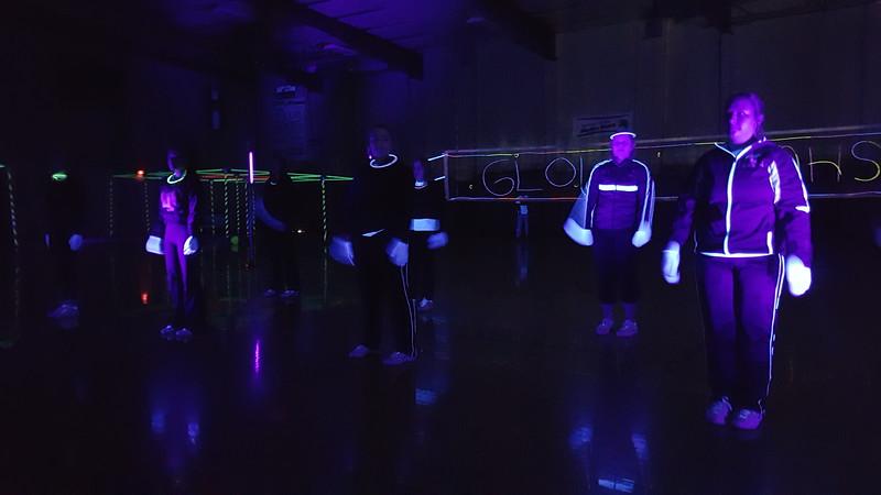 Cheerleaders prepare to perform at Merino Jr./Sr. High School's Neon Glow Energizer Afternoon Wednesday, Feb. 10, 2016.