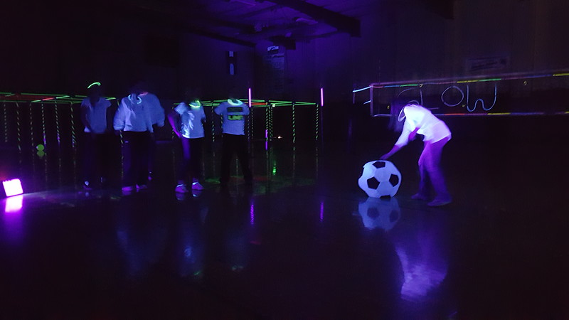 Human bowling was just one of several games students were invited to participate in at Merino Jr./Sr. High School's Neon Glow Energizer Afternoon Wednesday, Feb. 10, 2016.