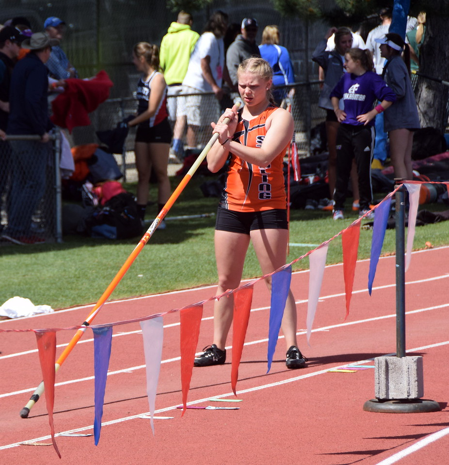 Sterling's Kaitlyn Makers focuses before an attempt in the pole vault.