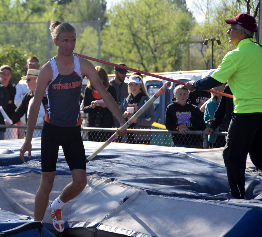 Sterling's Austin Chavez leaves the pit after an attempt in the pole vault.