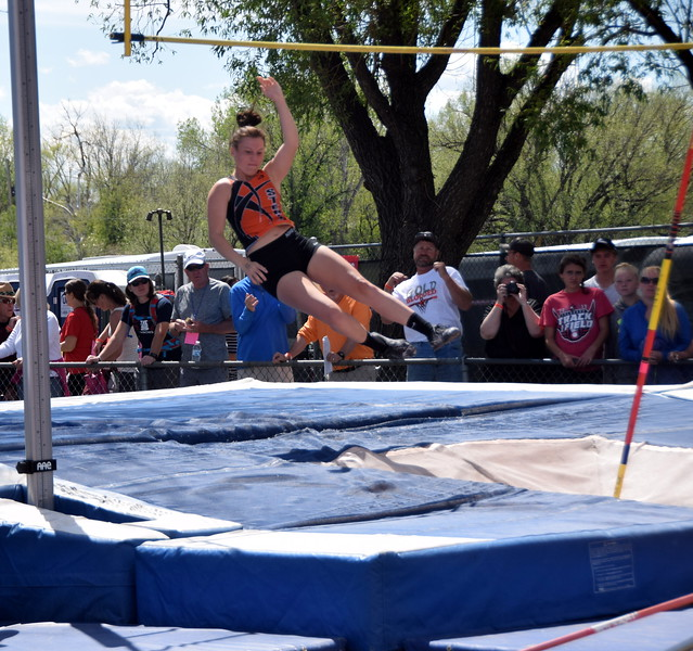 Kaitlynn Prelle comes down with the bar still in tact during an attempt in the pole vault.