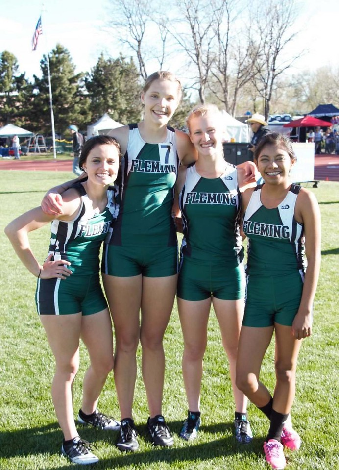 Fleming's girls 4x800 relay team placed fifth.  From left Katie Tryboski, Shaylee Johnson, Morgan Cockroft and Suzy Walker