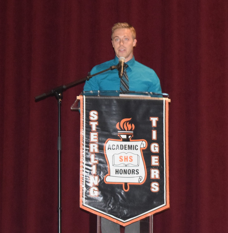 Keynote speaker Dr. Colin Windom, a 2007 Sterling High School graduate, talks to students about finding their purpose during the school's Celebration of Academic Honors Tuesday, May 9, 2017.