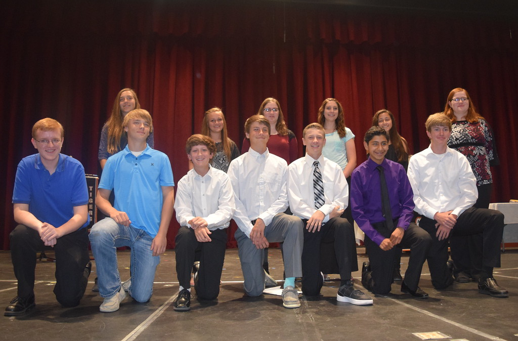 . Pictured are the 2017 Sterling High School freshmen academic letter winners Tuesday, May 9, 2017. Front row, from left; Kevin Smithgall, Jaxon McCracken, Dylan Cranwell, Axel Henry, Chase Hume, Adrian Aguiree, Ryan Wecker. Back row, from left; Akayla Mahaffey, Lexi Quint, Camryn Trump, Katelyn Lightle, Anastasia Gallegos, Darcy Trump. Not pictured: Amber Gibbs.