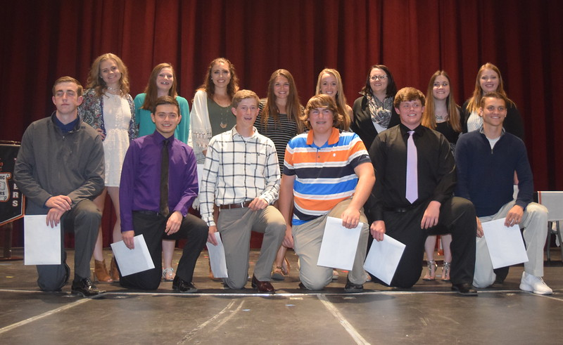 Pictured are the 2017 Sterling High School sophomore academic letter winners Tuesday, May 9, 2017. Back row, from left; Makenna May, Katie Masters, Ashby Hux, Mariah Gohson, Maggie Alsup, Brooke Bohler, Sadie Holloway, Emily Fleckenstein. Front row, from left; Hunter Paxton, Adam Hernandez, Greyson Dudley, Reid Kaiser, Ian Cone, Liam Skerjanec. Not pictured: Jilian Brown, Jasmine Renteria, Jessica Swanson.