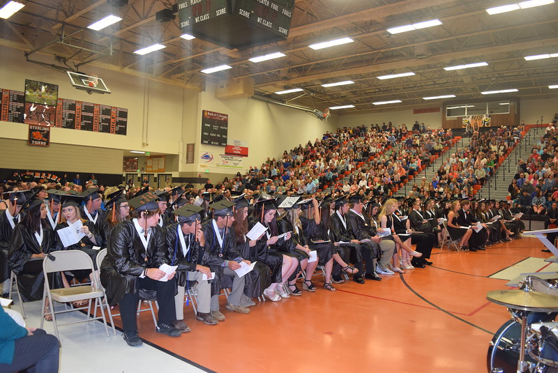 Sterling High School Class of 2017 listens to a speaker at commencement exercises Saturday, May 27, 2017. There were 109 graduates this year.