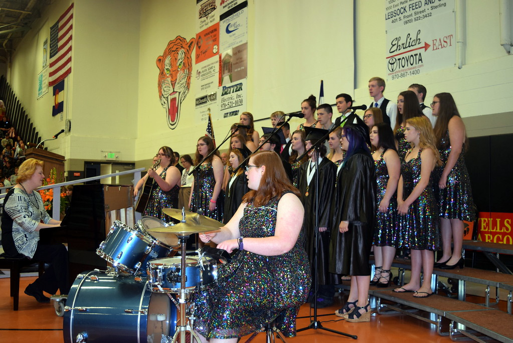 ". The Sterling High School Jazz Choir performs ""Photograph,\"" under the direction of Annette Lambrecht, during the school\'s commencement exercises Saturday, May 27, 2017."