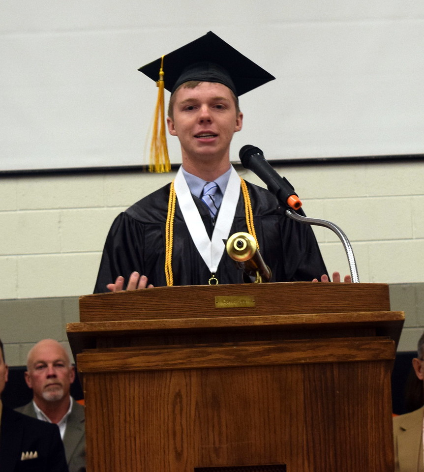 Logan Kiefer, class president gives remarks at Sterling High Schools commencement exercises Saturday, May 27, 2017.