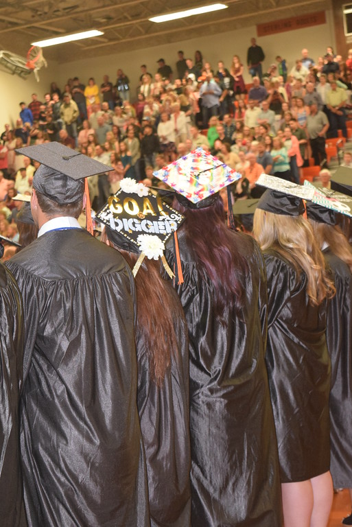 . Graduates decorated their caps in many different styles at Sterling High School\'s commencement exercises Saturday, May 27, 2017.