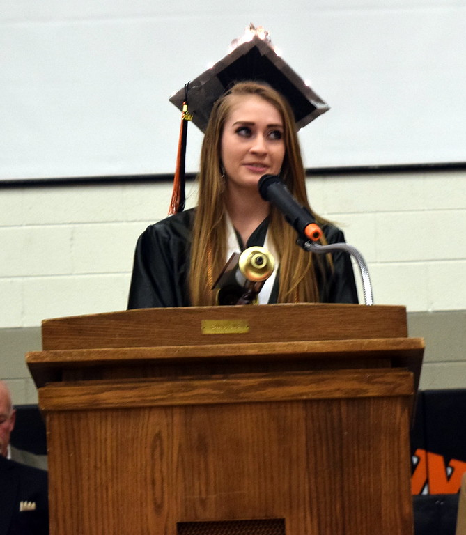. Amanda Scherbarth, student council president, gives the farewell address at Sterling High School\'s commencement exercises Saturday, May 27, 2017.
