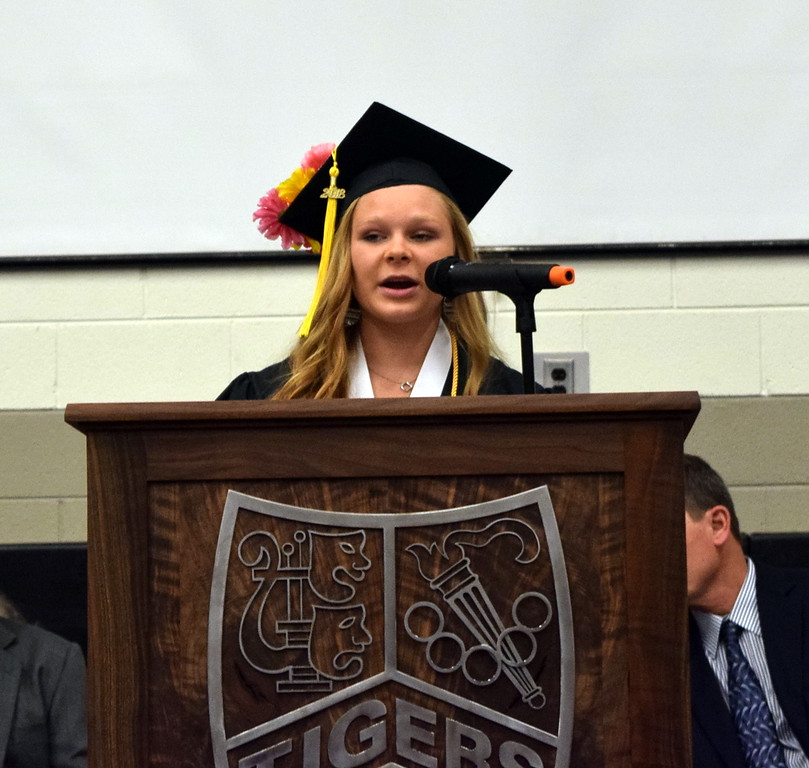 . Kaitlyn Maker, senior class president, gives the opening address at Sterling High School\'s commencement exercises Saturday, May 26, 2018.