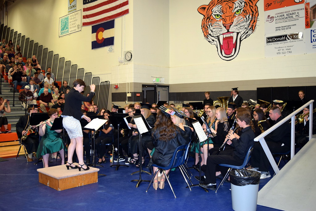 """. The Sterling High School Band performs \""""Guardians of the Galaxy,\"""" under the direction of Risa Lamorie, during the school\'s commencement exercises Saturday, May 26, 2018."""