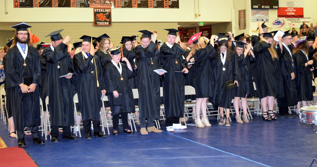 . Sterling High School graduates filp their tassel at the conclusion of commencement exercises Saturday, May 25, 2018.