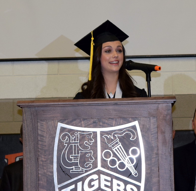 . Sonjia Hadley, student council president, gives the farewell address during Sterling High School\'s commencement exercises Saturday, May 26, 2018.