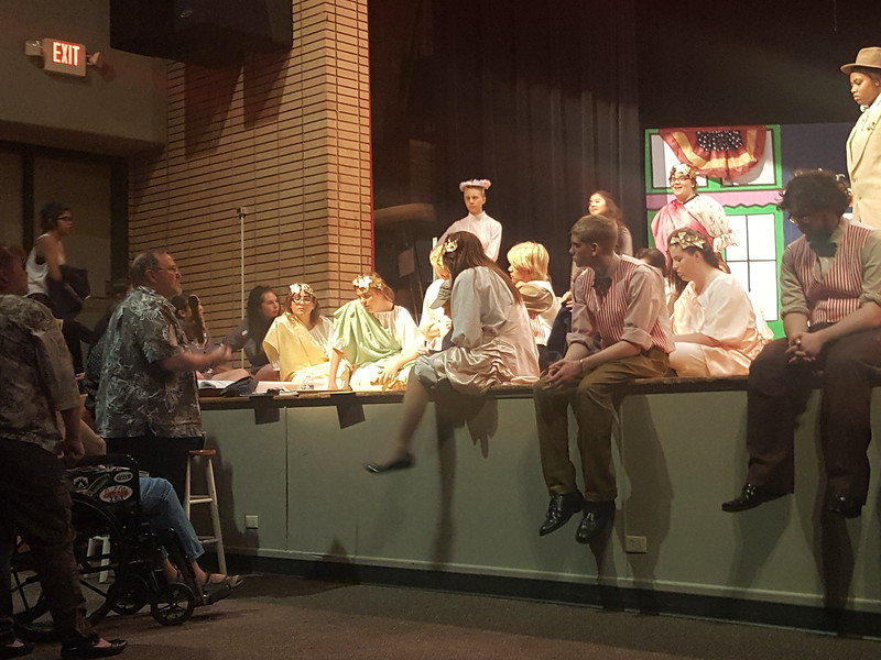 "Director Don Johnson gives some tips to his actors following rehearsal for Sterling High School's ""The Music Man"" Tuesday, March 5, 2016. This will be Johnson's final show before he retires at the end of the school year."