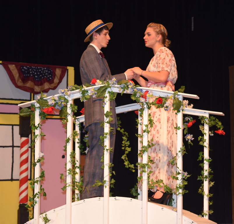 "Harold Hill (Clifford Farrington) and Marian Paroo (Kori Penfold) perform ""Til There Was You"" during a rehearsal for Sterling High School's ""The Music Man."""