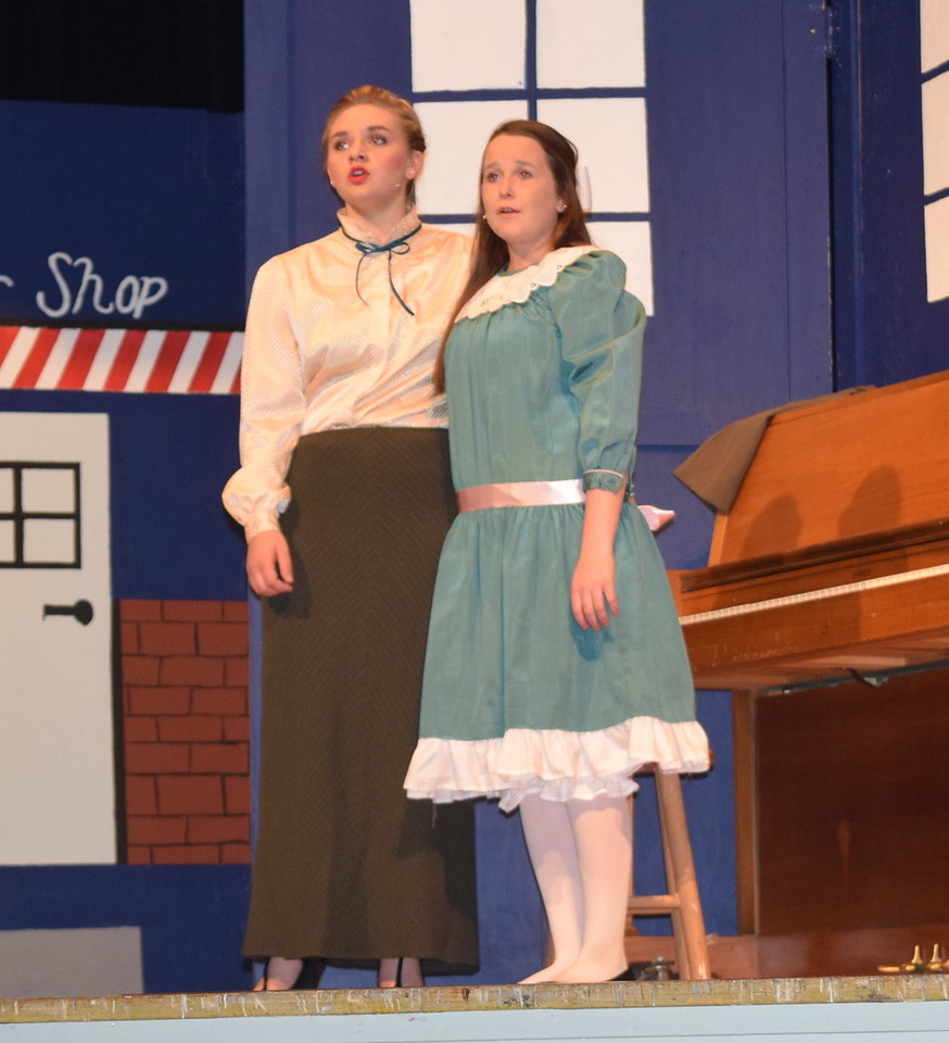 "Marian Paroo (Kori Penfold), left, and Amaryllis (Grace Reeves) perform ""Goodnight My Someone"" during a rehearsal for Sterling High School's production of ""The Music Man."""