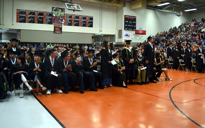 Graduates with a 3.33 grade point average stand to be recognized during Sterling High School's Commencement Exercises Saturday, May 28, 2016.