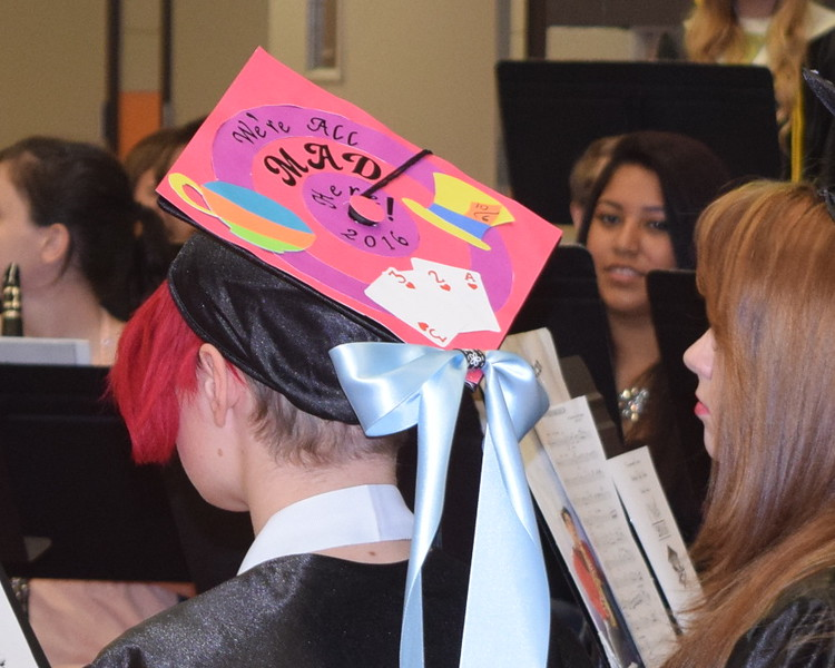 Graduates caps were decorated in a variety of ways during Sterling High School's Commencement Exercises Saturday, May 28, 2016.