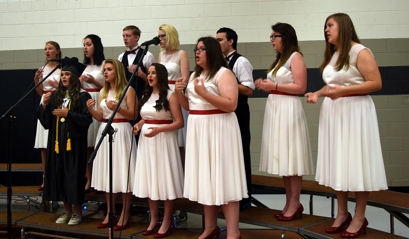 "The Sterling High School Jazz Choir performs ""What A Difference You've Made In My Life,""  under the direction of Don Johnson and accompanied by Annette Lambrecht, during the school's commencement exercises Saturday, May 28, 2016."