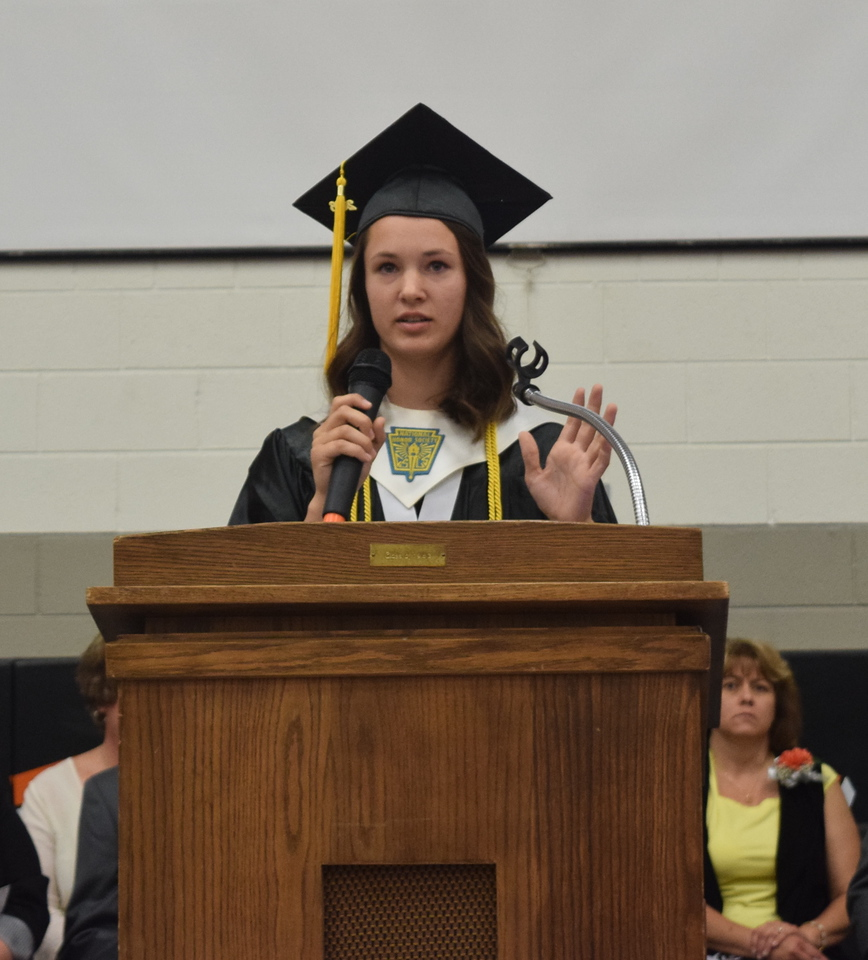 Cayla Carey, senior class president, gives remarks during Sterling High School's Commencement Exercises Saturday, May 28, 2016.