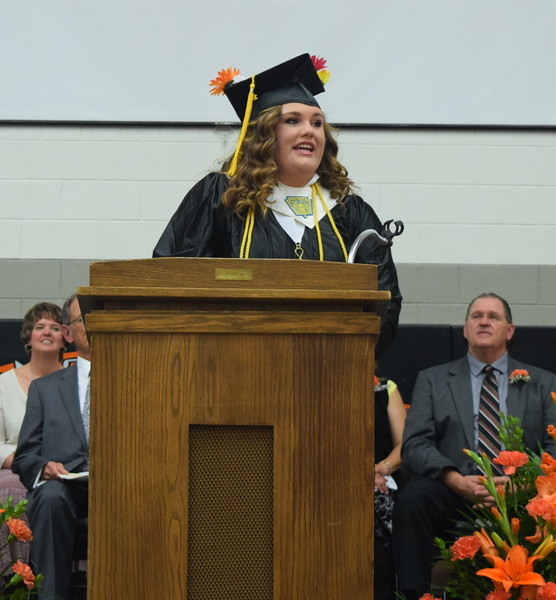 Megan Kaiser, student council president, gives farewell remarks during Sterling High School's Commencement Exercises Saturday, May 28, 2016.