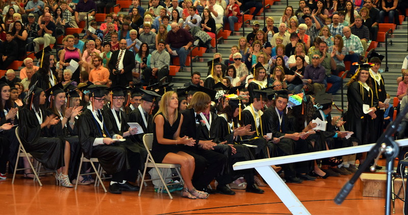 Graduates with a 3.90 grade point average or above stand to be recognized during Sterling High School's Commencement Exercises Saturday, May 28, 2016.
