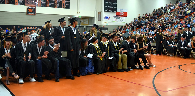 Graduates with a 3.50 or above grade point average stand to be recognized during Sterling High School's Commencement Exercises Saturday, May 28, 2016.