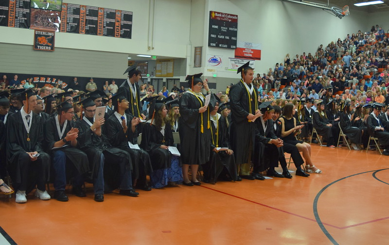 Graduates with a 3.75 or above grade point average stand to be recognized during Sterling High School's Commencement Exercises Saturday, May 28, 2016.