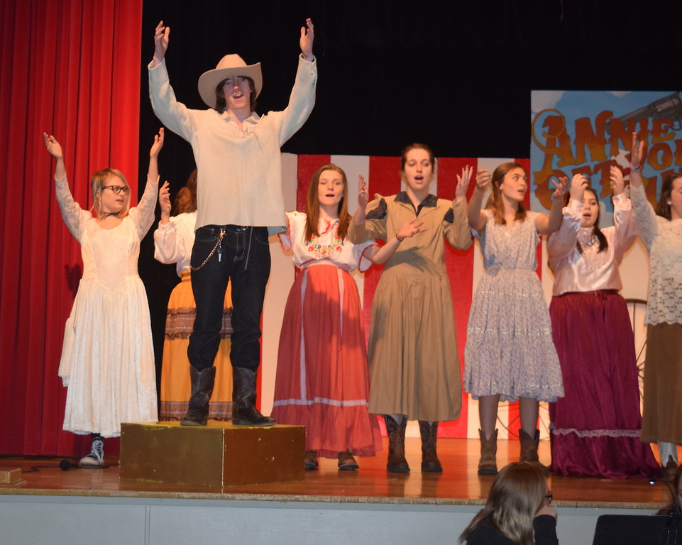 "Buffalo Bill Cody (Clifford Farrington) leads fellow cast members in a performance of ""Colonal Buffalo Bill"" in a scene from Sterling High School's upcoming production of ""Annie Get Your Gun."""