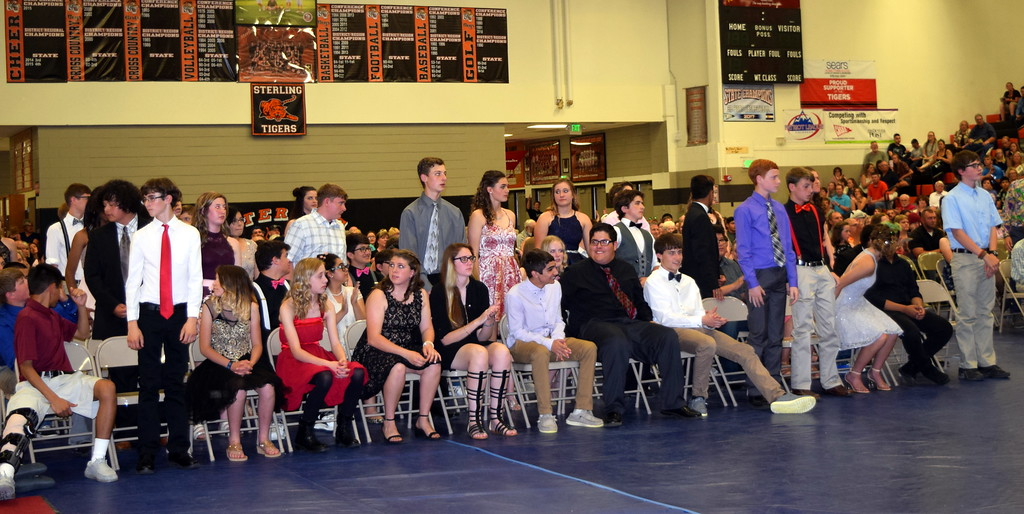 . Academic award winners are recognized during Sterling Middle School\'s continuation night Thursday, May 24, 2018.