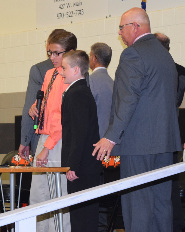 . Sterling Middle School Co-Student Council Vice Presidents Aiden Smith and Jaycob Denning lead students, faculty and guests in the Pledge of Allegience, at the school\'s Continuation Night on Thursday, May 24, 2018.