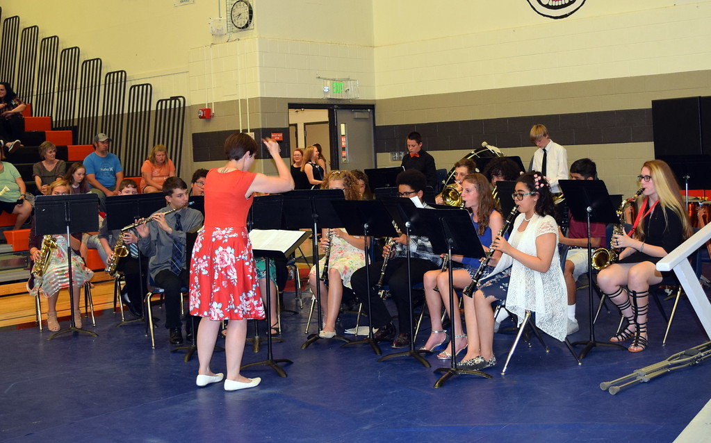 ". The Sterling MIddle School eighth grade band performs ""The Incredibles,\"" under the direction of Risa Lamorie, during the school\'s Continuation Night celebration Thursday, May 24, 2018."