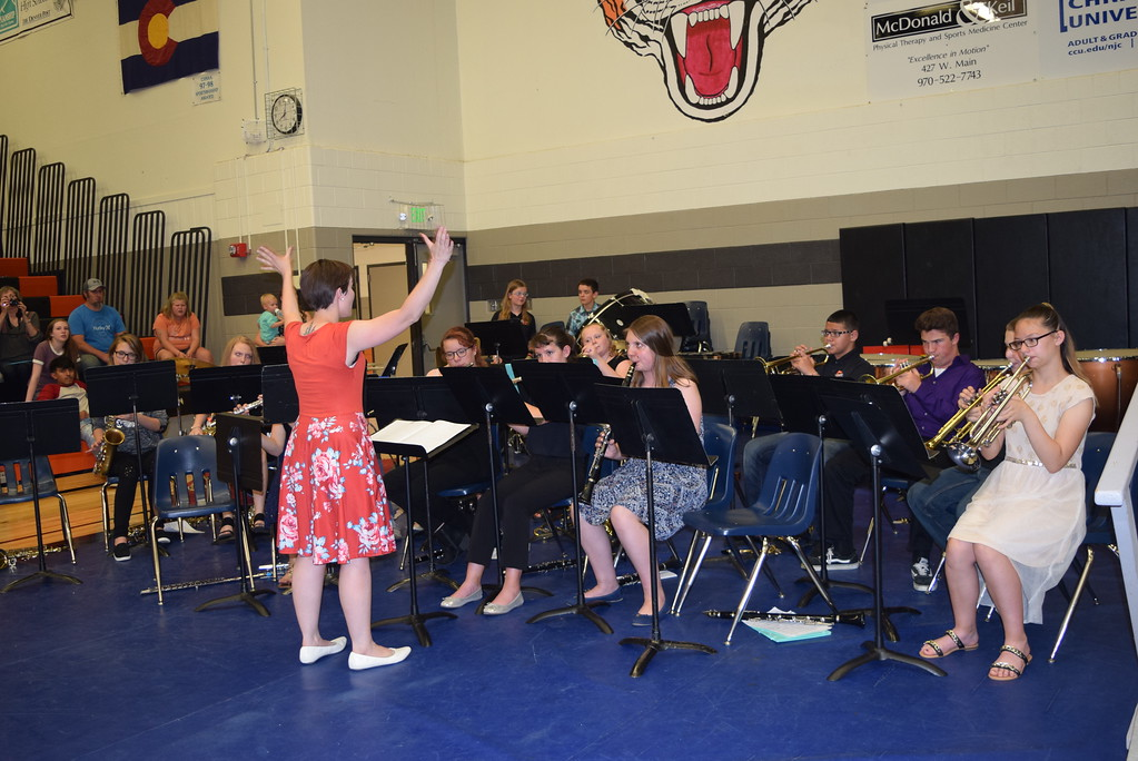 ". The Sterling MIddle School Seventh Grade Band performs ""Antiphonal Celebration\"" as eighth graders receed out of the gym during the continuation night Thursday, May 24, 2018."