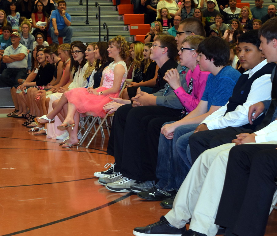 The class of 2021 listens to opening remarks at Sterling Middle School's annual Continuation Night Tuesday, May 23, 2017. There are 151 eighth graders continuing on to Sterling High School.