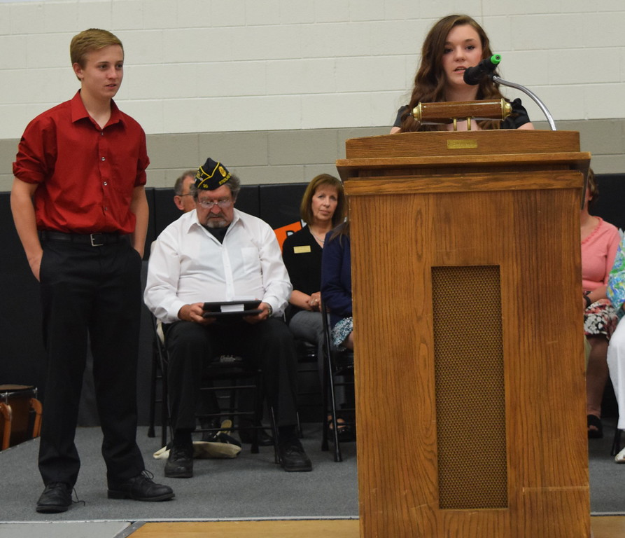 Mikayla Farquhar and Grant Brammer, co-student council presidents, welcome students and guests to Sterling MIddle School's Continuation Night Tuesday, May 24, 2016.