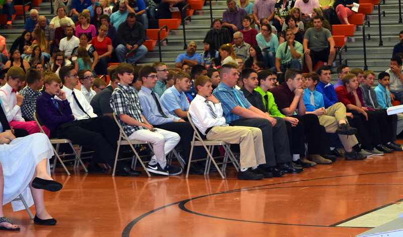 Eighth graders listen to a speaker at Sterling Middle School's Continuation Night Tuesday, May 24, 2016.