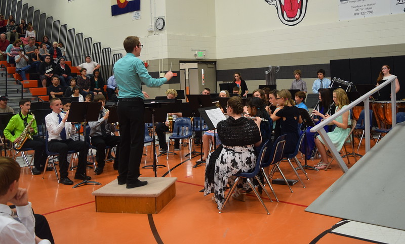 "The eighth grade band performs ""Commemoration,"" under the direction of Mark Thompson, during Sterling Middle School's Continuation Night Tuesday, May 24, 2016."