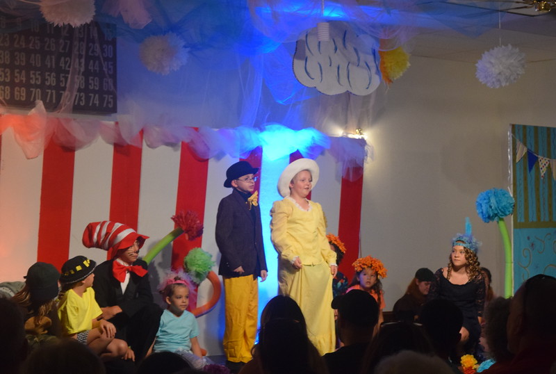 "Dr. Seuss characters listen as Mr. Mayor (Roland Strobel) and Mrs. Mayor (Dylan Kaiser) give remarks in a scene from Sterling Miracle Players Kids Camp's produciton of ""Seussical Jr."" Saturday, July 22, 2017."
