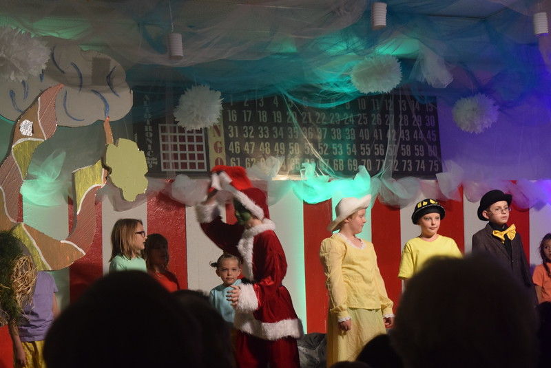 """The Grintch (Devon Strobel) makes an appearance  in a scene from Sterling Miracle Players Kids Camp's produciton of """"Seussical Jr."""" Saturday, July 22, 2017."""