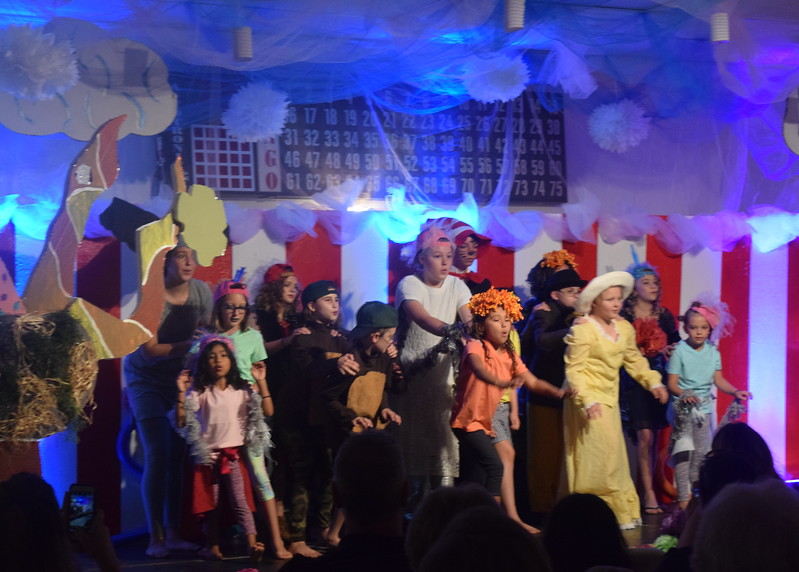 "Cast members perform ""Oh, The Thinks You Can Think!"" in a scene from Sterling Miracle Players Kids Camp's produciton of ""Seussical Jr."" Saturday, July 22, 2017."