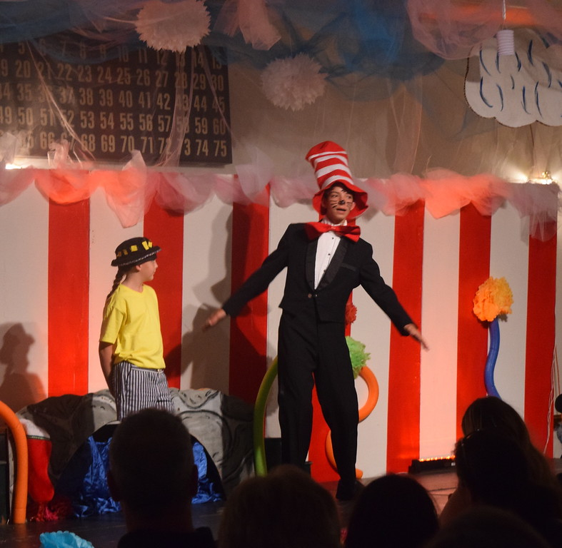 "The Cat in the Hat (Tristan Trahern) meets up with Jojo (Stayci Blecha) in a scene from Sterling Miracle Players Kids Camp's produciton of ""Seussical Jr."" Saturday, July 22, 2017."